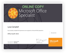Microsoft Office Specialist from Microsoft, Inc.
