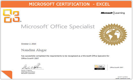 Microsoft Excel Certificate
